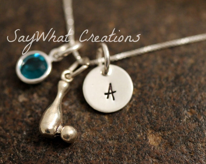 Sterling Silver Mini Initial Charm Necklace with Bowling Pin and Ball Charm and birthstone