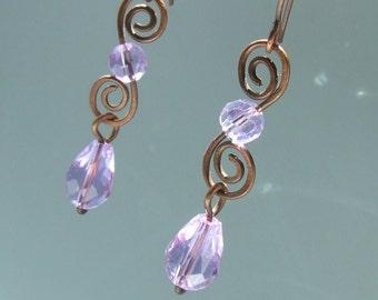 Purple earrings, Rustic jewelry, Dangle earrings, Copper jewelry