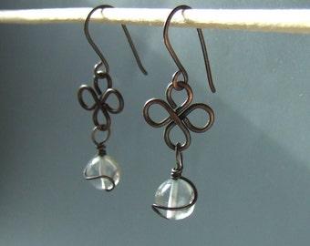 Topaz dangle earrings, light blue stone earrings, rustic copper jewelry, feminine jewelry