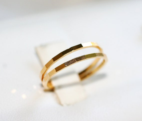 2 BLOCK TEXTURE Sterling Silver Rings-Yellow Gold Plated Size 5-5