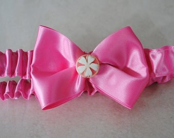 Pink Bow Satin Headband for your little Cherubs, Handmade, Ready to Ship in sizes newborn, toddler, teen