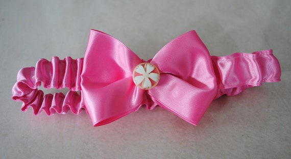 Pink Bow Satin Headband for your little Cherubs, Handmade, Ready to Ship in sizes newborn, toddler, teen
