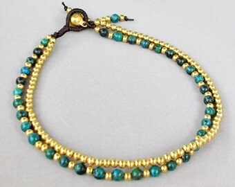 4 mm Chrysocolla Bead Brass Bead  Ankle Bracelet  A171