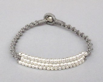 Casual Wristband Gray Wax Cord with Silver Bead B159