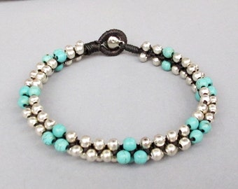 Round Turquoise Beaded with Silver Colour Bead Stud Bracelet B154
