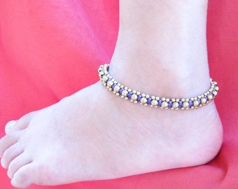 Brass Bead and Purple Wax Cord Square Knot Anklet  A195