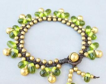 Green Glass Bead and Brass Bracelet