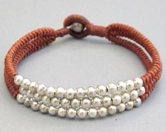 Multi Line Silver Colour Bead Walnut Wax Cord Snake Knot Bracelet