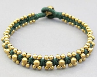 Brass Bead and Green  Wax Cord Square Knot Bracelet