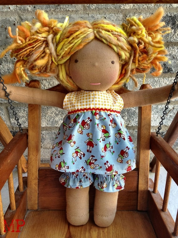 RTG waldorf Vintage style dress and bloomers for 12 inch doll