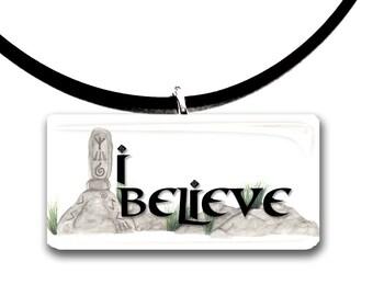 color choices, I believe, handmade, magic, glass tile pendant, grey green and black, rocks, stones, runes, custom made