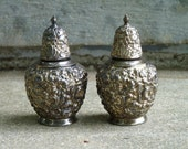 Silver or Silverplate Repousse Weidlich Brothers WB MFG CO. Salt Pepper Shakers Hollywood Regency Victorian Style