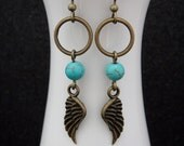 Brass Dreamcatcher Earrings with Angel Wing Charms and Turquoise Bead Accents