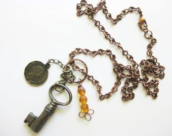 Copper Charm Necklace With Mixed Metal Charms C-1