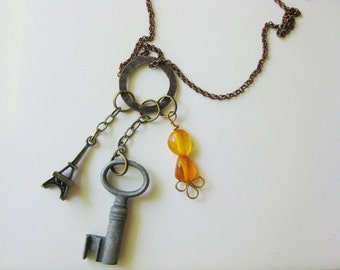 Copper Charm Necklace with Mixed Metal Charms C-4
