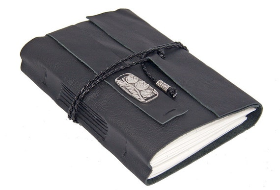 Black Leather Journal with Key Charm Bookmark