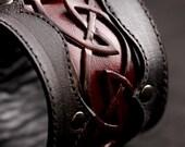 Leather Cuff, Leather Bracelet,leather cuff with a celtic design: Crimson Dara Cuff