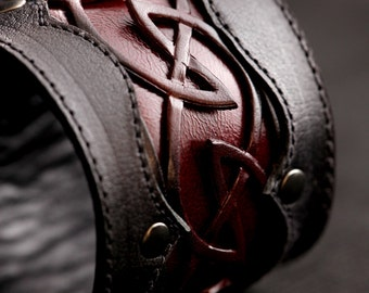 Leather Cuff, Leather Bracelet,leather cuff with a celtic design: Crimson Dara Cuff