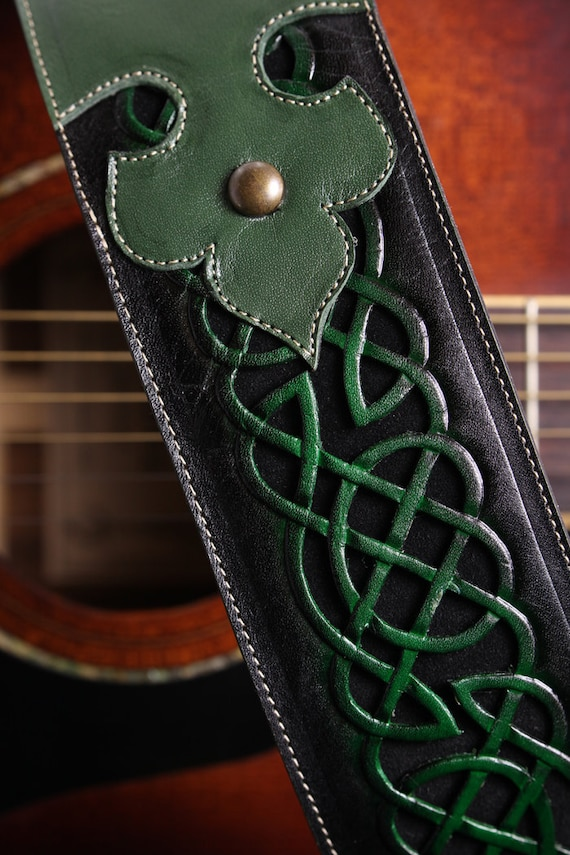 Custom Leather Guitar Strap Green Leather By Ethoscustombrands