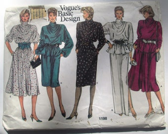 Vogue 1198 Misses 80s Cowl Neck Dress Sewing Pattern Size 10 Bust 32 1/2