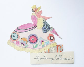 Vintage art deco place card lady with umbrella and luggage