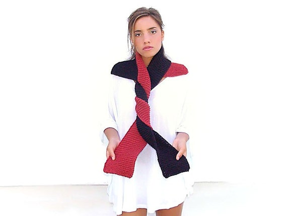 Knitted long scarf / collar,  black terracotta, christmas holidays
