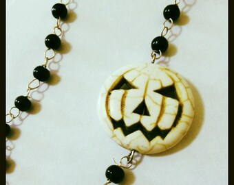 Jack-O-Lantern Rosary Necklace, Carved Howlite, Asymetrical Pumpkin Rosary