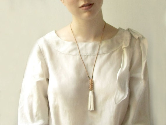 White Jewelry - Contemporary Long Ceramic Tassel Leather Necklace - Fashion