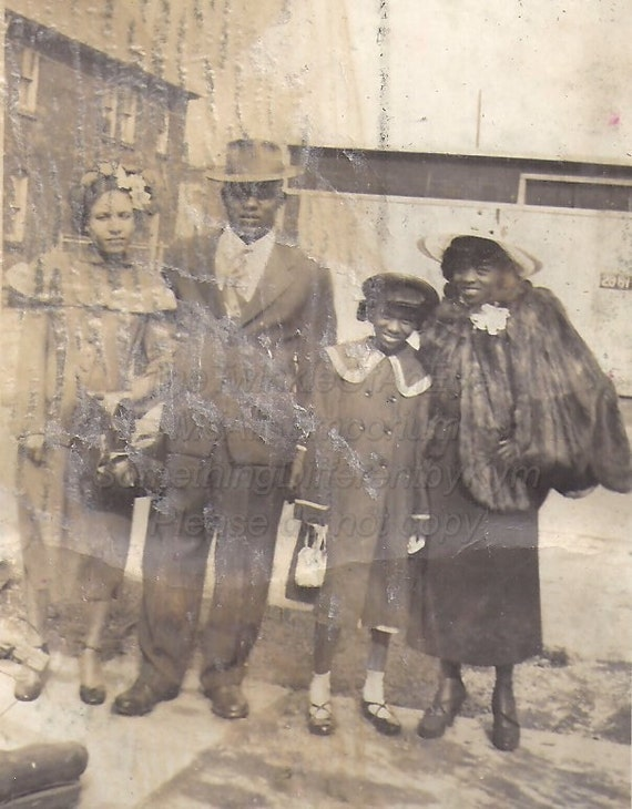 Stepping Out, well dressed family, Vintage African American photograph,photo snapshot