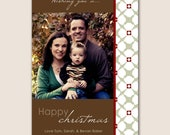 DIgital Christmas Photo Card in Brown, Red and Green with White Flowers - Jpeg file in 4x6, 5x7 or 6x7.5 Print Anywhere