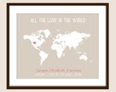 ALL the Love in the World - Birth Print mark that Special Event with a Heart on a World Map  - 8x10 Print, Fully Customizable