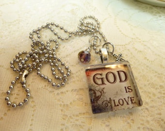 God Is Love Christian Glass Tile Pendant with Dangles and Charm Necklace on Silver Plated Ball Chain