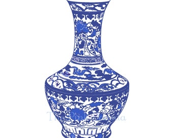 Blue and White Chinese Vase Giclee