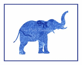 Navy Blue Chinoiserie Floral Elephant Silhouette Facing Right Giclee