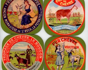 Set of Antique Goat Cheese Label Coasters B