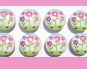 8 Daisy Flower Gardern   kids   girls  baby mtm bedding set  Dresser Drawer Knob