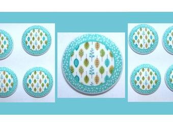 8  Teal Blue Leaves   Dresser Drawer knobs