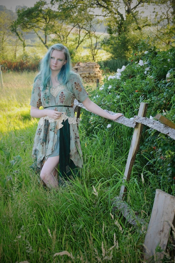 Silk Chiffon gypsy dress with antique lace embellishments Size L Large Woodland Mori girl Festival outfit, fairy dress