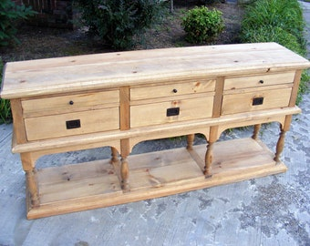 6 Drawer Console Solid Pine Completely Handcrafted Weathered Pine Finish