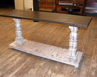 Console Table Handcrafted Distressed Brown Top and Ivory Bottom
