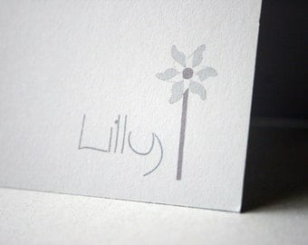 Personalized Stationery - L I L L Y - Set of Cards & Envelopes in Classic White - Adventures of the Pinwheel Series- CHOOSE your QUANTITY