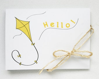Hello Spring Stationery -- A Breezy Hello -- The Little Kite -- Set of 3 Classic White Folded Notes and Kraft Brown Envelopes