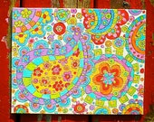 Paisley, Painting, Neon, Original, OOAK, Home Decor, Flower Power, Acrylic, 8in x10in, ready to frame, standard size