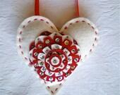 "Heart, Christmas, Ornament, Handmade, Red, White Felt, Sequins, OOAK, 4 1/4"" x 4 1/2"", 1 ornament"