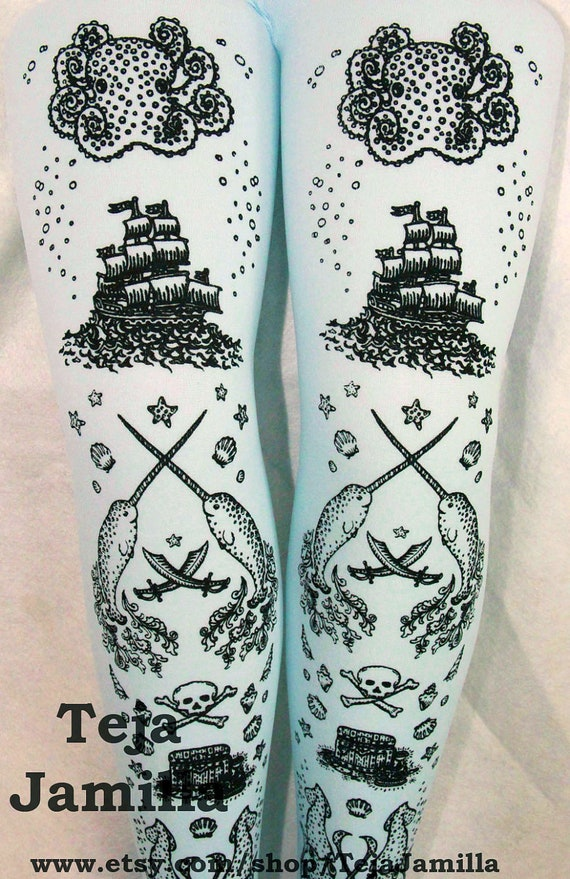 Pirate Printed Tights Footless Leggings Medium Large Black on Pastel Blue Womens Nautical Tattoos Octopus Narwhal Squid Skull Anchor