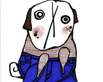 Pug in Perfect Fit True Blue Skinny Jeans: Original Marker Drawing