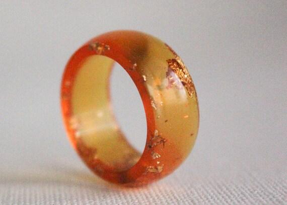 very orange size 7.25 round resin eco resin ring
