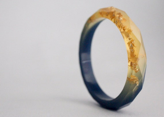 Day and night multifaceted two toned yellow and blue eco resin bangle