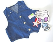 Vintage childrens denim vest with rainbow shooting star appliqué and studs, seventies, 1970s Zany Kaynee, toddler size 3, Halloween costume