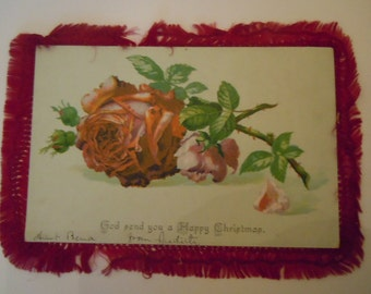 Antique Christmas Card Holiday Collectible Victorian Rose